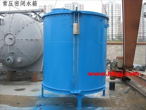 由于液位显示浮球设在箱外,通过引线与箱内浮盖连结.