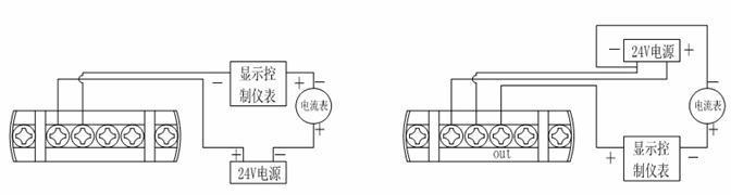 两线制电流输出接线图 / 三线制电压输出接线图